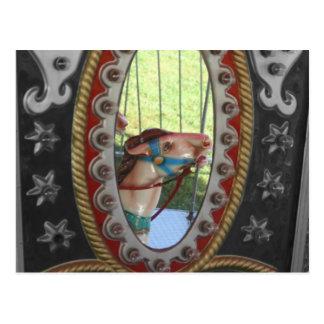Carousel Horse In Mirror Black White Postcard