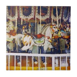 Carousel Horse in Oil Tile