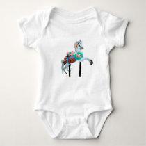 """""""CAROUSEL HORSE INFANT CREEPER WHITE"""""""
