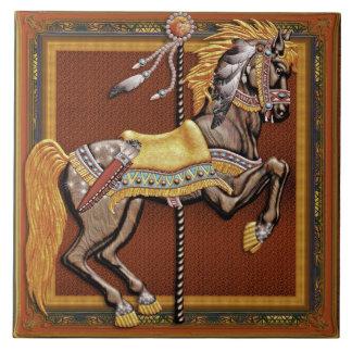 Carousel Horse, Midnight Rider - Ceramic Tile