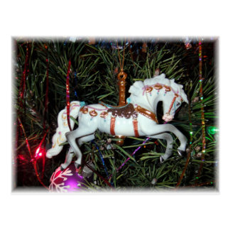 Carousel horse ornament postcard