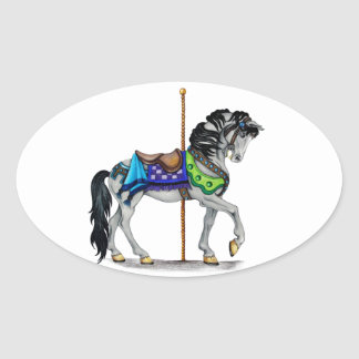 Carousel Horse Oval Sticker