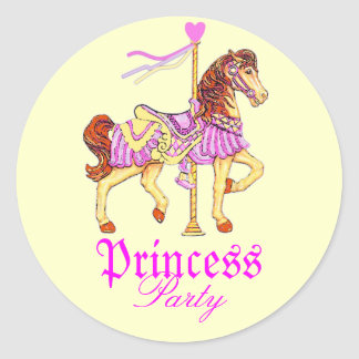 Carousel Horse Princess Party Classic Round Sticker