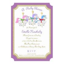 Carousel Horse Purple Baby Shower Card