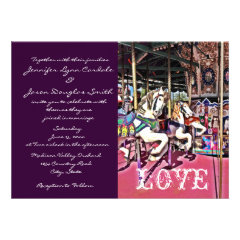 Carousel Horse Purple Carnival Wedding Invitations