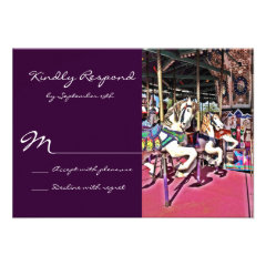 Carousel Horse Purple Carnival Wedding RSVP Cards
