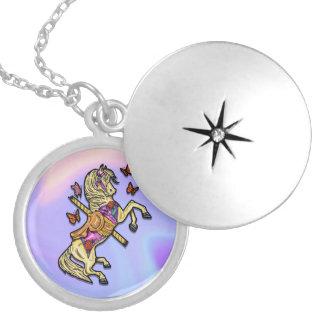 Carousel Horse Round Locket Necklace