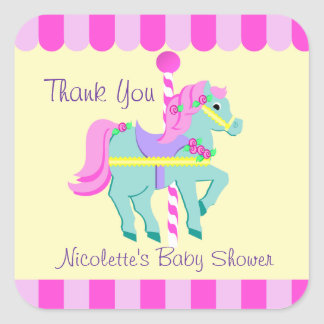 Carousel Horse Thank You Square Stickers