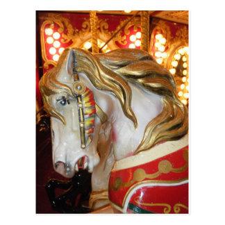 Carousel horse white postcard