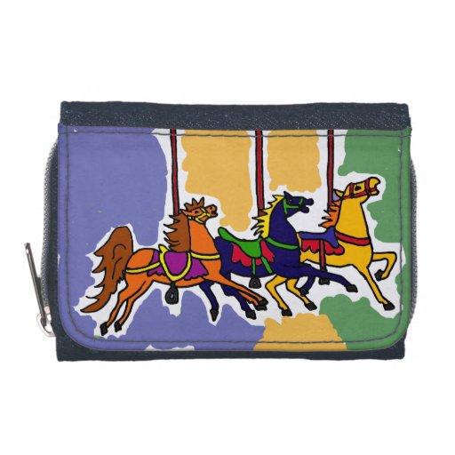 Carousel Horses Folk Art Wallet