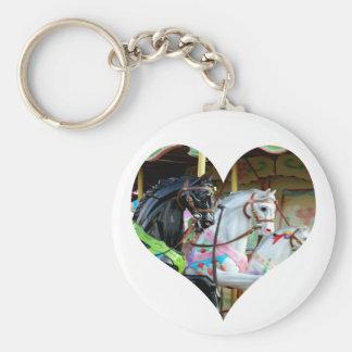 Carousel Horses Heart Keychain