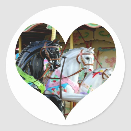 Carousel Horses Heart Sticker