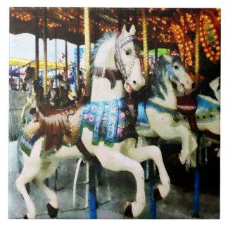 Carousel Horses Large Square Tile