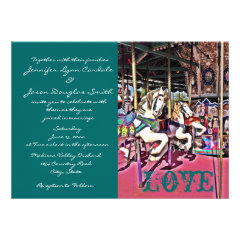 Carousel Horses Love Carnival Wedding Invitations
