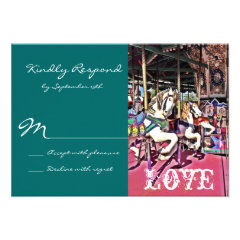 Carousel Horses Love Carnival Wedding RSVP Cards