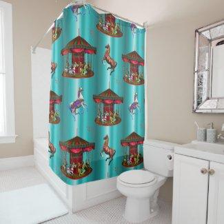 Carousel Horses on Blue Shower Curtain
