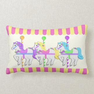 Carousel Horses Pink Lumbar Pillow