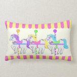 Carousel Horses Pink Pillow