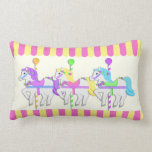 Carousel Horses Pink Throw Pillows