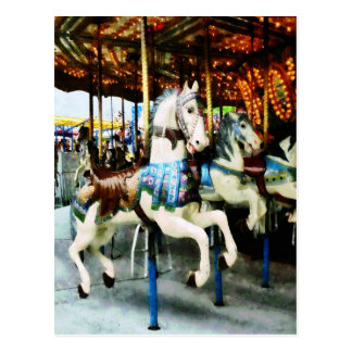 Carousel Horses Postcard