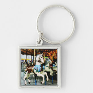 Carousel Horses Silver-Colored Square Keychain