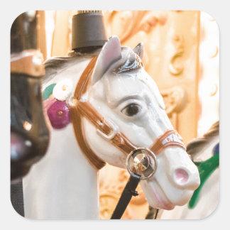 Carousel horses square sticker