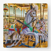 Carousel Horses Square Wall Clock