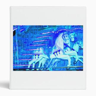 carousel horses streaked blue binder