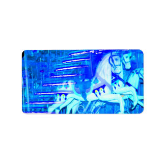 carousel horses streaked blue labels