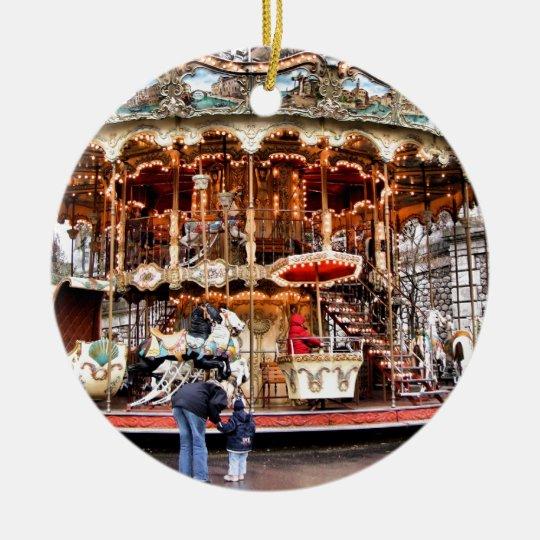 Carousel in Montmartre Ceramic Ornament