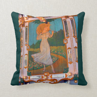 Carousel Lady with Parasol Throw Pillow