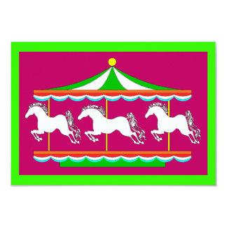 "Carousel Merry-Go-Round Party Birthday INVITATIONS 3.5"" X 5"" Invitation Card"