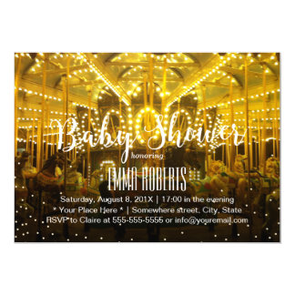 Carousel Merry Go Round String Lights Baby Shower Card