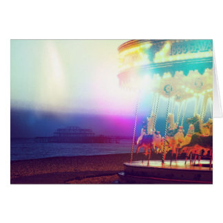 Carousel On The Beach Greeting Cards