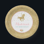 """Carousel Pink And Gold Paper Plate 7&quot; Paper Plates<br><div class=""""desc"""">Carousel Pink And Gold Paper Plate 7&quot; Paper Plates. The Glitter effect within this design is a digital image made to look like real glitter. High quality and still gorgeous, but no actual real glitter will be used in the making of this product. All designs are &#169; PIXEL PERFECTION PARTY...</div>"""