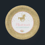 "Carousel Pink And Gold Paper Plate 7&quot; Paper Plates<br><div class=""desc"">Carousel Pink And Gold Paper Plate 7&quot; Paper Plates. The Glitter effect within this design is a digital image made to look like real glitter. High quality and still gorgeous, but no actual real glitter will be used in the making of this product. All designs are &#169; PIXEL PERFECTION PARTY...</div>"