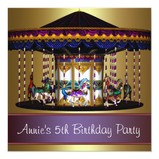 Carousel Ponies Girls 5th Birthday Party 5.25x5.25 Square Paper Invitation Card
