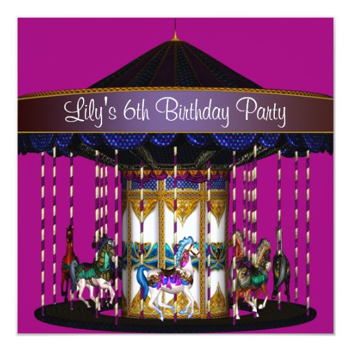 Carousel Ponies Girls 6th Birthday Party 5.25x5.25 Square Paper Invitation Card