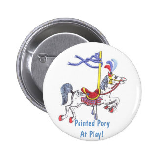 Carousel Pony At Play! Collector Button 2 Inch Round Button