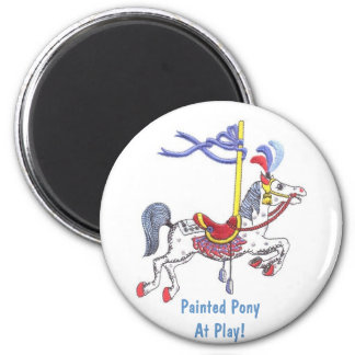Carousel Pony At Play! Collector Magnet 2 Inch Round Magnet
