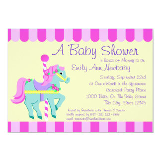Carousel Pony Baby Shower 5x7 Paper Invitation Card