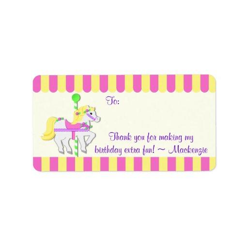 Carousel Pony Birthday Favor Tag Custom Address Label