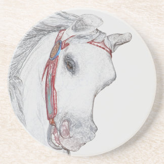 Carousel Pony Colored Pencil Drawing Sandstone Coaster