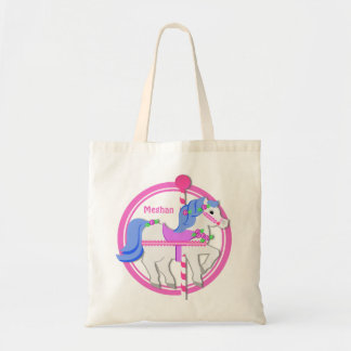 Carousel Pony Pink and Blue Tote Bag