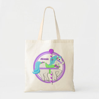 Carousel Pony Purple with Roses Tote Bag