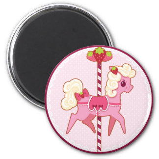 Carousel Pony – Strawberries and Cream 2 Inch Round Magnet