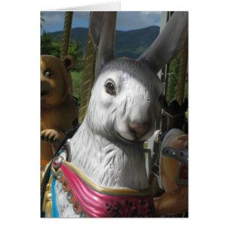 Carousel Rabbit Blank Card