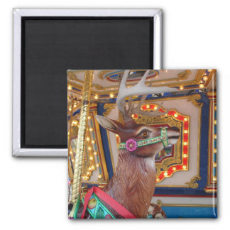 Carousel Reindeer 2 Inch Square Magnet