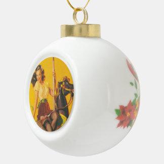 Carousel ride ceramic ball christmas ornament