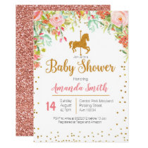 Carousel Rose Gold Baby Shower invitation
